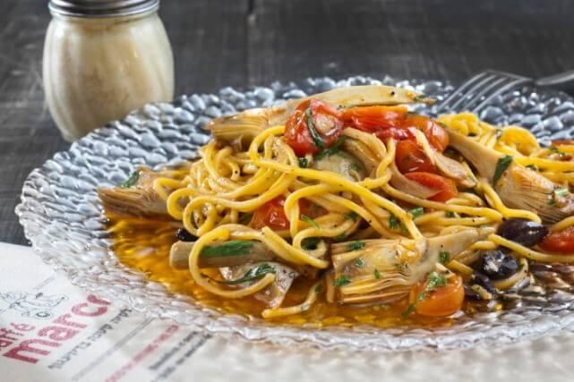 """ספגטי ארטישוק של """"מרקו - מטבח איטלקי"""""""