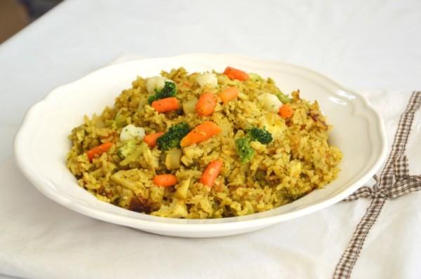 אורז עם ברוקולי, כרובית וגזר