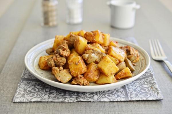 כבד עוף עם תפוחי אדמה