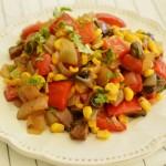 סלט גמבה, תירס ופטריות