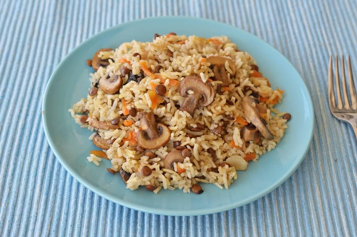 אורז עם עדשים, פטריות וגזר