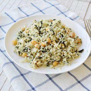 אורז עם תרד וחומוס