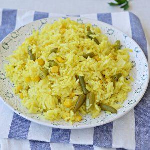 אורז עם שעועית ירוקה