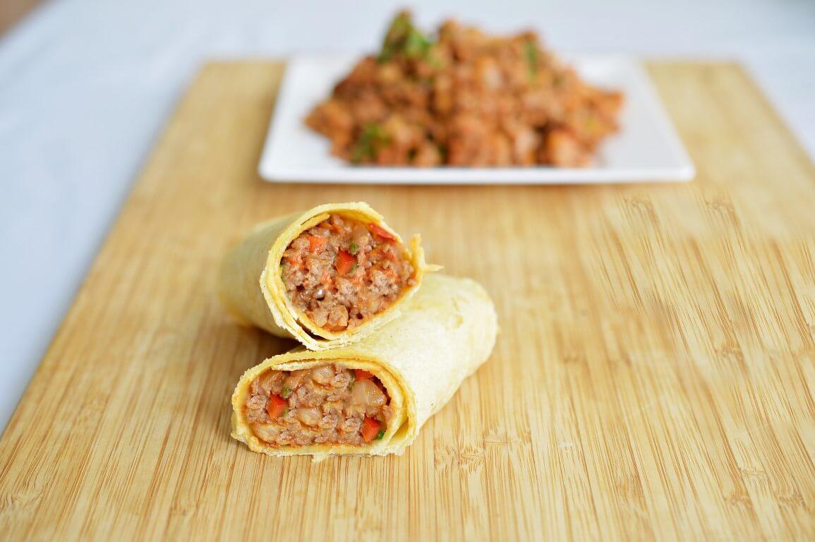 טורטיה במילוי בשר טחון